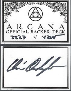 Arcana Official Backer Deck 2227 of 4200